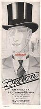 1929 - DELION Hat  Fashion men ad Vintage Advertising - Z1