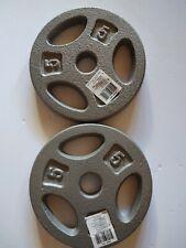 CAP Standard Grip Barbell Dumbbell Weights Plates 5 lb.  (PAIR)  -NEW-