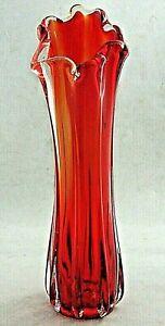 Vintage MURANO Italian Sommerso Vibrant Red Orange Clear Finger Rim Ribbed Vase