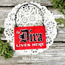 Mini Sign DIVA LIVES HERE office cubicle bedroom Wood Ornament Pkg USA DecoWords