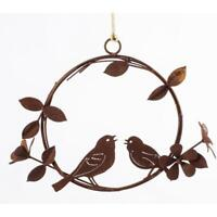 Bird Flower In Hanging Wreath Rusted Metal Wall Art Ring Ornament Garden Decor