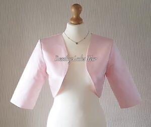 Light/Pale Pink Satin Bolero/Shrug/Jacket/Stole/Shawl/Wrap 3/4 Sleeve Lined ///
