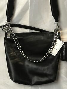 Steve Madden Banita Black Crossbody Hobo Messenger Bag Chain Handle
