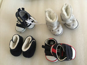 4 Pairs Of Age 0/6 Months Baby Boys Soft Fabric Shoes Blue Grey Clean Warm