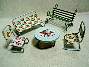 Vintage Metal Floral Doll House Furniture  Retro Patio Set Made in JAPAN