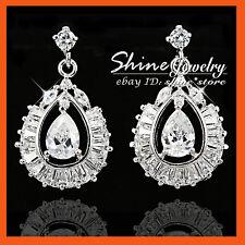 24k White Gold GF E254 Peacock 2ct Diamond Simulant Solid Wedding Drop Earrings