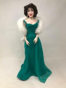 """Elizabeth Taylor Franklin Mint Vintage 16"""" Porcelain Doll Green Dress Numbered"""
