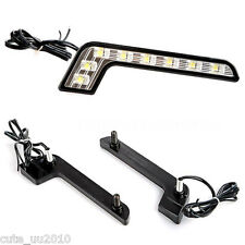 2x Car L Shape Auto Day White time Running Light 8LED DRL Fog Driving Daylight