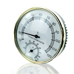1 Piece Sauna Thermometer Round Metal Glass Temperature Humidity Hygrometer New