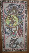 Vintage Hand Painted Thangka with Monkey God, Dancing Lady and Dragon