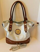 Michael Kors Womens Large Brown Silver Leather Shoulderbag Purse Crossbody
