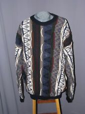 Cotton Traders Mens XL Biggie Cosby Sweater Brown Blue White 3D Texture