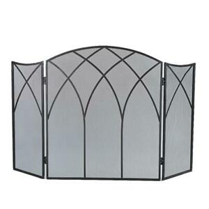 Gothic Fireplace Screen Black Steel 3-Panel 46.5 In. L X 31 In. H Home Decor NEW