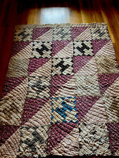 Antique Cutter Quilt Piece-Courthouse Square Or Cross Patch 60� X 46�Very Old