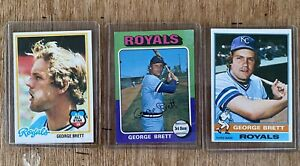 1975 1976 1978 Topps GEORGE BRETT 3 card lot Including Rookie.  Nice!!!