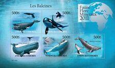 Whales Marine Life sea mammals Comoros Comores 2011 m/s Mi. 3063-67 #CM11125a