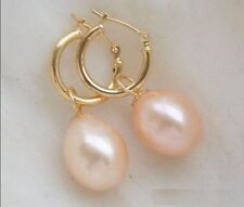 Natural  10X9 MM AAA PINK south sea pearl earrings 14K GOLD