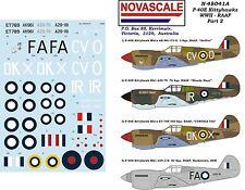 RAAF P-40E Kittyhawk Pt2 WWII Decals 1/48 Scale N48041a