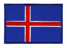 RICAMATE PATCH BANDIERA FLAG Bandiera Islanda Iceland Mer 4,5x3 cm Aufbügelbar