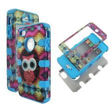 For Apple Iphone 4 4S Hybrid Blue Designl Owl Hard Soft Cover Case