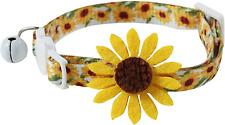 New listing Flower Cat Collar with Detachable Sunflower Charm,Yellow Breakaway Kitten Col.