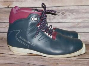 Vintage Salomon Size 45 Blue Purple Cross Country Ski Boots SNS Profil 3.1 XC