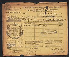 "MARSEILLE (13) TRANSPORT MARITIME Espagnol ""YBARRA Séville & RODRIGUES"" 1908"