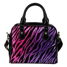 Handbag Shoulder Bag + Long Strap Double Side Print RAINBOW ZEBRA PINK PURPLE