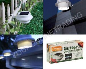 2 PACK WHITE LED SOLAR POWER GUTTER DOOR FENCE WALL ROOF LIGHTS OUTDOOR GARDEN