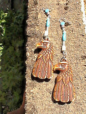 native american eagle earrings BLESSED brown totem spiritual tribal turquoise