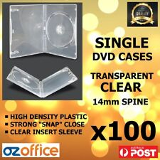 PREMIUM 100 x Single Clear DVD Case DVD Covers w/ Clear Outer Wrap 14mm Standard