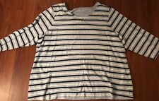 Croft&Barrow 3/4 Sleeve Navy/White/Light Blue Striped Top Womens 2X