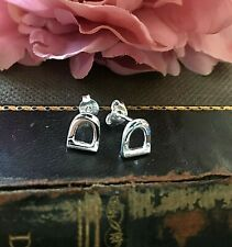 Sterling Silver 925 Stirrup Stud Earrings Sea Gems Horse Pony Lovers Gift
