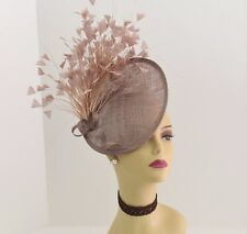 Kentucky Derby Wedding Tea Party Sinamay feather Fascinator Cocktail 617 (Taupe)
