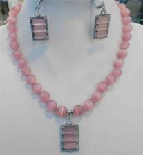 Beautiful Pink Mexican Opal Round Beads Gems Pendant Necklace Earring Set 18""