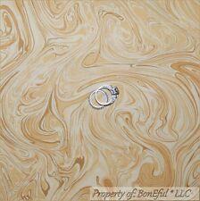 BonEful Fabric FQ Cotton Tan Carmel Cream Brown Swirl Scroll Tea Coffee Blender