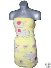ROXY yellow strapless flower summer dress BNWT 1 6-8 XS