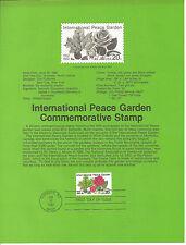 20c INTERNATIONL PEACE GARDEN 1982 SOUVENIR PAGE SCOTT # 2014 SP590 FLOWERS