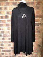 Black Jersey Stretch Polo Neck Dress - Plus Size 22