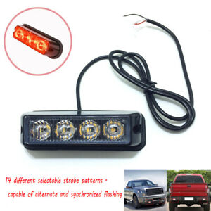 Dash Grille Side Marker 4 LED Strobe Lights Emergency Warning Hazard Red USA