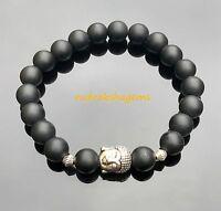 Buddha Black Onyx Matte Natural Gemstone Bracelet Elasticated Healing Stone Yoga