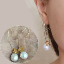Baroque AAA 12-13MM  PERFECT south sea natural pearl earrings 14K GOLD