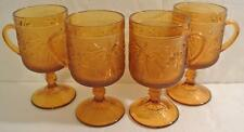 SET 4 TIARA INDIANA GLASS AMBER SANDWICH TALL MUG Footed Cup Goblet With Handle