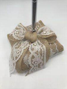 Ivy Lane Design/ Beverly Clark Burlap and Lace Penholder White