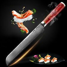 8'' Damascus Stainless Steel Bread Knife Frozen Meat Knife Color Wood Handle