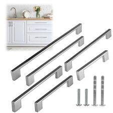 Modern Rectangular Brushed Nickel Kitchen Door Cabinet Pull Handles Hardware