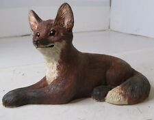 Vintage Lying Smiling Hand Painted Red Fox Figurine Collectible Animal Figure