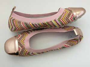 Naturino 4655 girls Rose Gold woven textile ballet flat leather lined