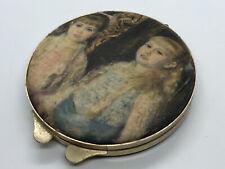 Vintage Ladies Female Makeup Compact Mirror Felt Top #6