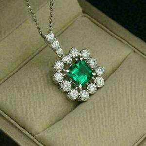 2.25Ct Princess Green Emerald Cluster Pendant With Chain 14K White Gold Finish